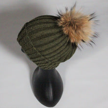 Load image into Gallery viewer, Beanie Soft Wool Blend Relaxed-Removable Pom Pom- Olive