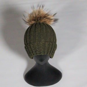 Beanie Soft Wool Blend Relaxed-Removable Pom Pom- Olive