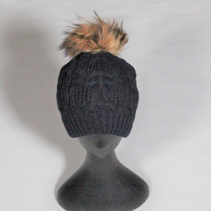 Beanie- Soft Wool Blend Cable knit-Removable Pom Pom- Navy