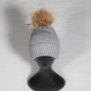Beanie-Ribbed- Wool Blend with removable Pom Pom- Soft Pink