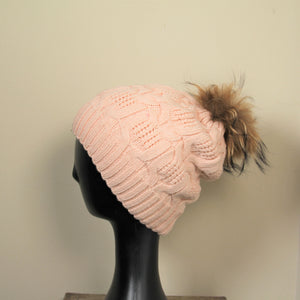 Beanie- Cable Wool Knit With Removable Pom Pom-Soft Pink