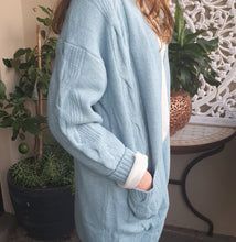 Load image into Gallery viewer, Cardigan Long Sleeve Cable Knit wool Blend two Pockets Teal