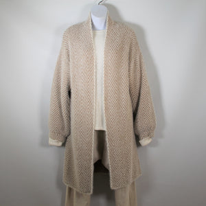 Cardigan Long Sleeve Knit wool Blend Zigzag Pattern Beige