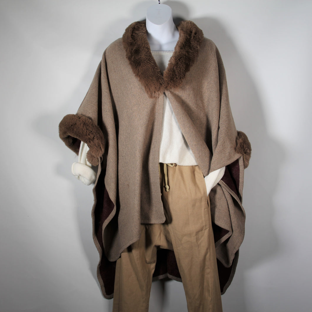 Cape - Faux Fur Around Neck and Arms Soft Brown -