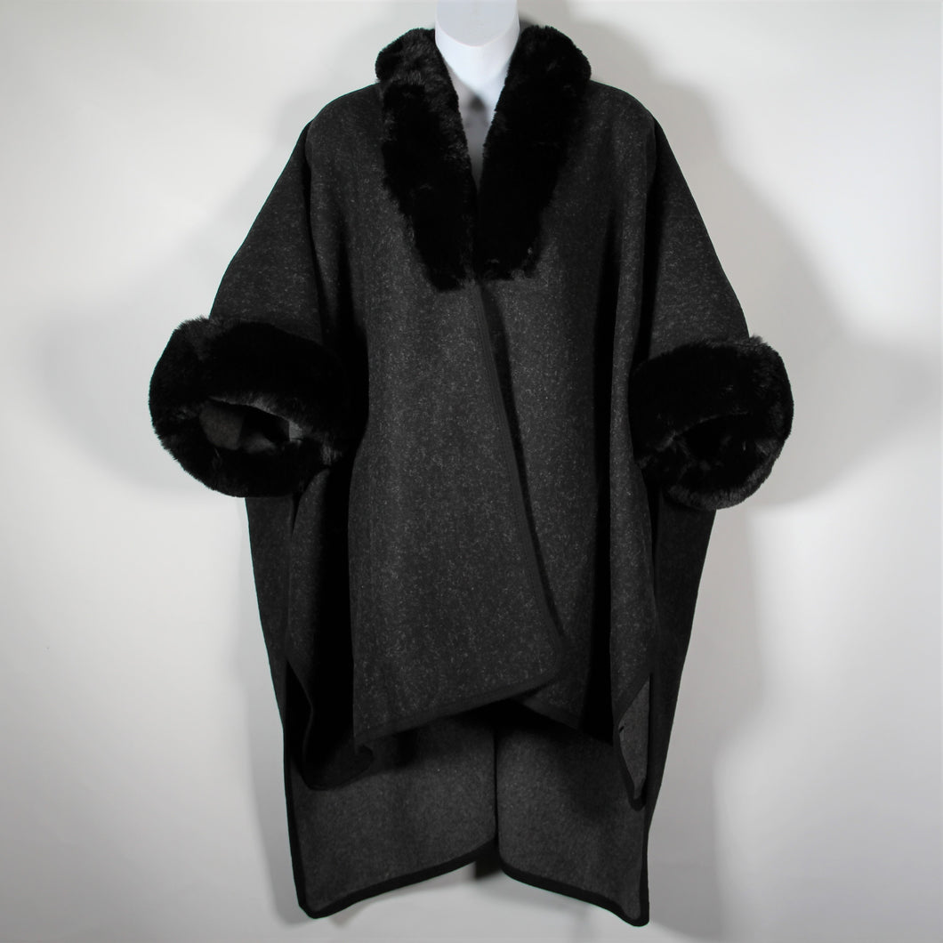 Cape - Faux Fur Around Neck and Arms  - Black