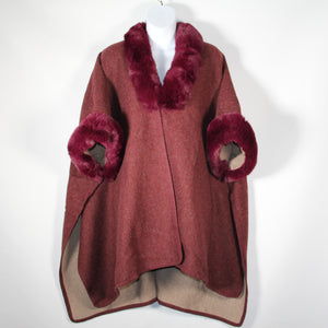Cape - Faux Fur Around Neck and Arms  - Burgundy