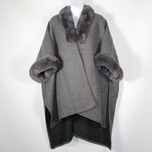 Cape - Faux Fur Around Neck and Arms  - Dark Grey