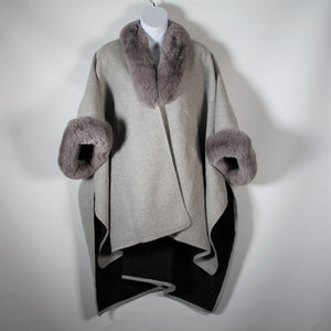 Cape - Faux Fur Around Neck and Arms  - Light Grey