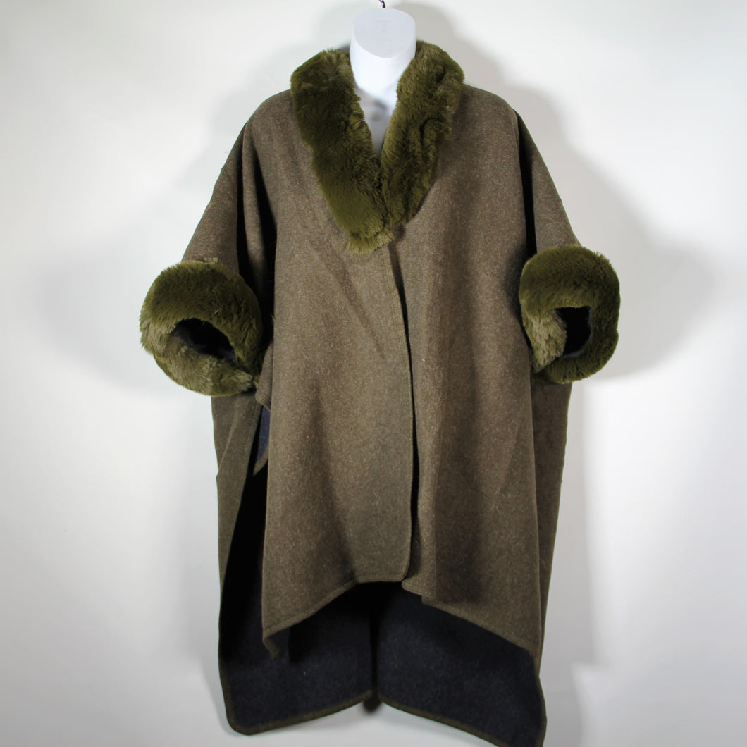 Cape - Faux Fur Around Neck and Arms  - Olive