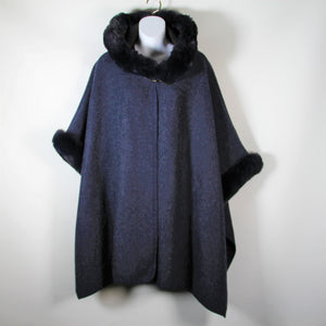 Cape Faux Fur Hood and Arms - Navy