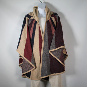 Cape - Stripe with Hood - Burgundy