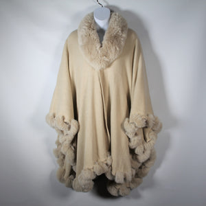 Cape - Wrap -Beige Faux Fur
