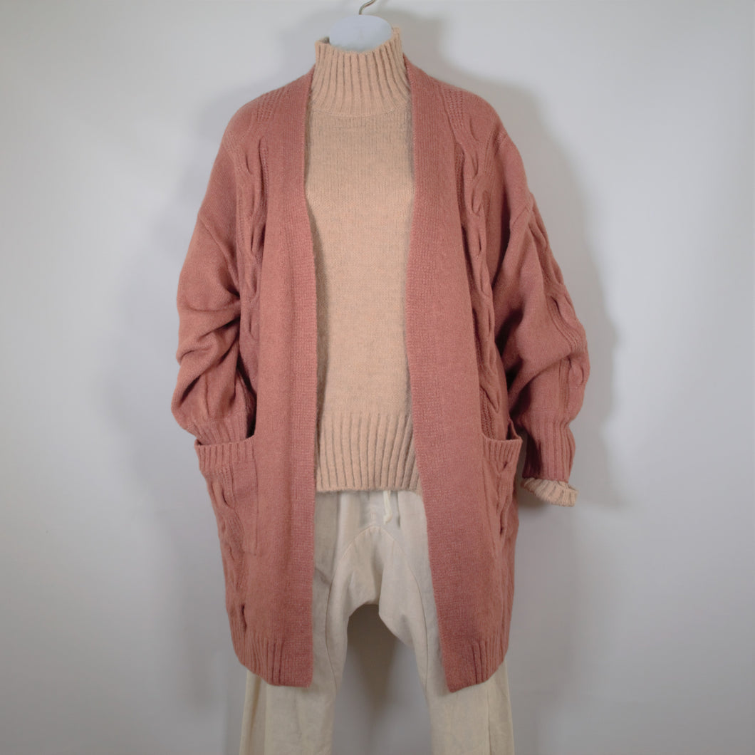 Cardigan Long Sleeve Cable Knit wool Blend two Pockets Rose