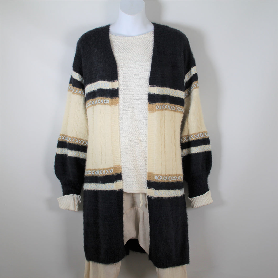 Cardigan Knitted wool with Long Sleeve Blue and Cream Pale Blue Stitch
