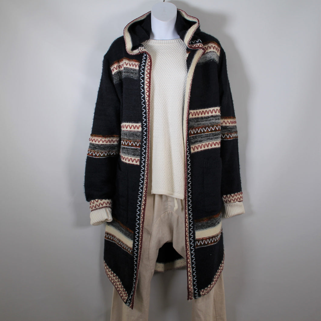 Cardigan Knitted wool with Long Sleeve Hood two Pockets Navy Rust Stitch