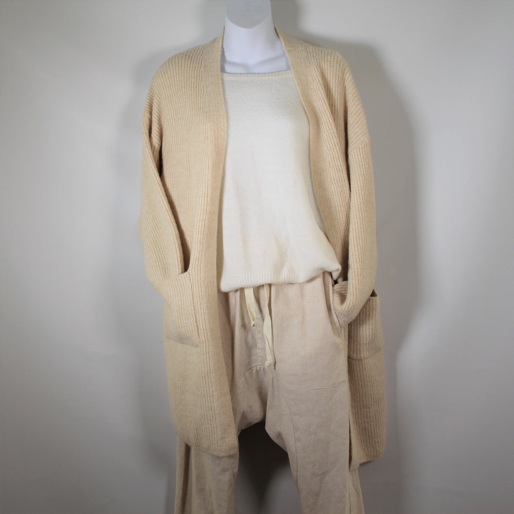Cardigan Long Sleeve Knit wool Blend two Pockets Cream