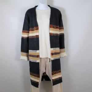 Cardigan Knitted wool with Long Sleeve - Navy Camel Rust Stripe