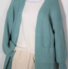 Load image into Gallery viewer, Cardigan Long Sleeve Knit wool Blend two Pockets Teal