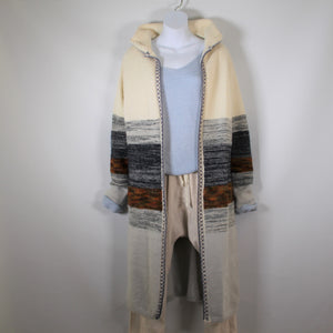 Cardigan Long Knitted wool with Long Sleeve Hood Light Blue Rust Navy Stripe