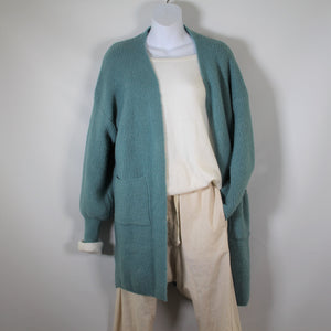 Cardigan Long Sleeve Knit wool Blend two Pockets Teal