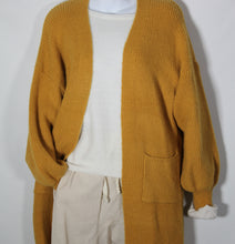 Load image into Gallery viewer, Cardigan Long Sleeve Knit wool Blend two Pockets Mustard