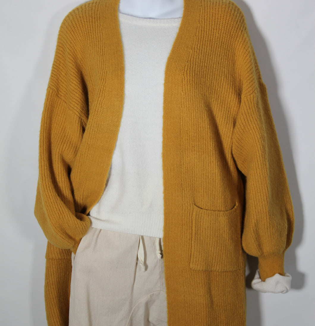 Cardigan Long Sleeve Knit wool Blend two Pockets Mustard