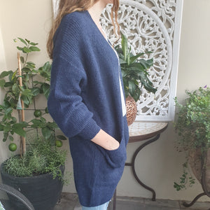 Cardigan Long Sleeve Knit wool Blend two Pockets Navy
