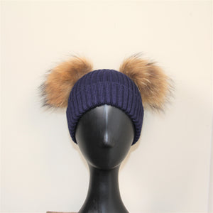 Beanie Child Double Pom Pom Navy