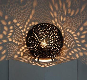 Medium Ball Leaf Pattern Floor Lamp (Black)