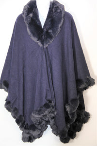 Cape - Wrap Faux Fur- Navy