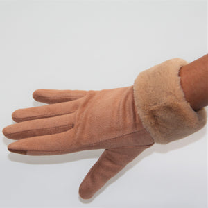 Glove - Faux Fur Vegan Suede - Peach