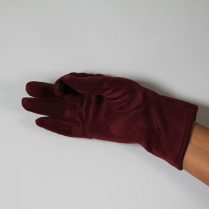 Glove Faux Suede Chocolate