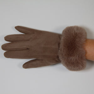 Glove - Faux Fur Vegan Suede - Brown
