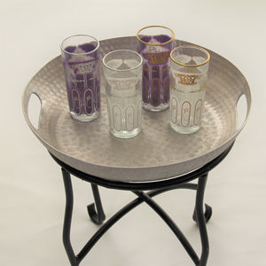 set 6 - Tall White Gold - Tea Glass, Water Glass - Moroccan Painted -  Feather Design