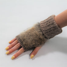 Load image into Gallery viewer, Glove Fingerless - Rabbit Fur and Wool - Brown