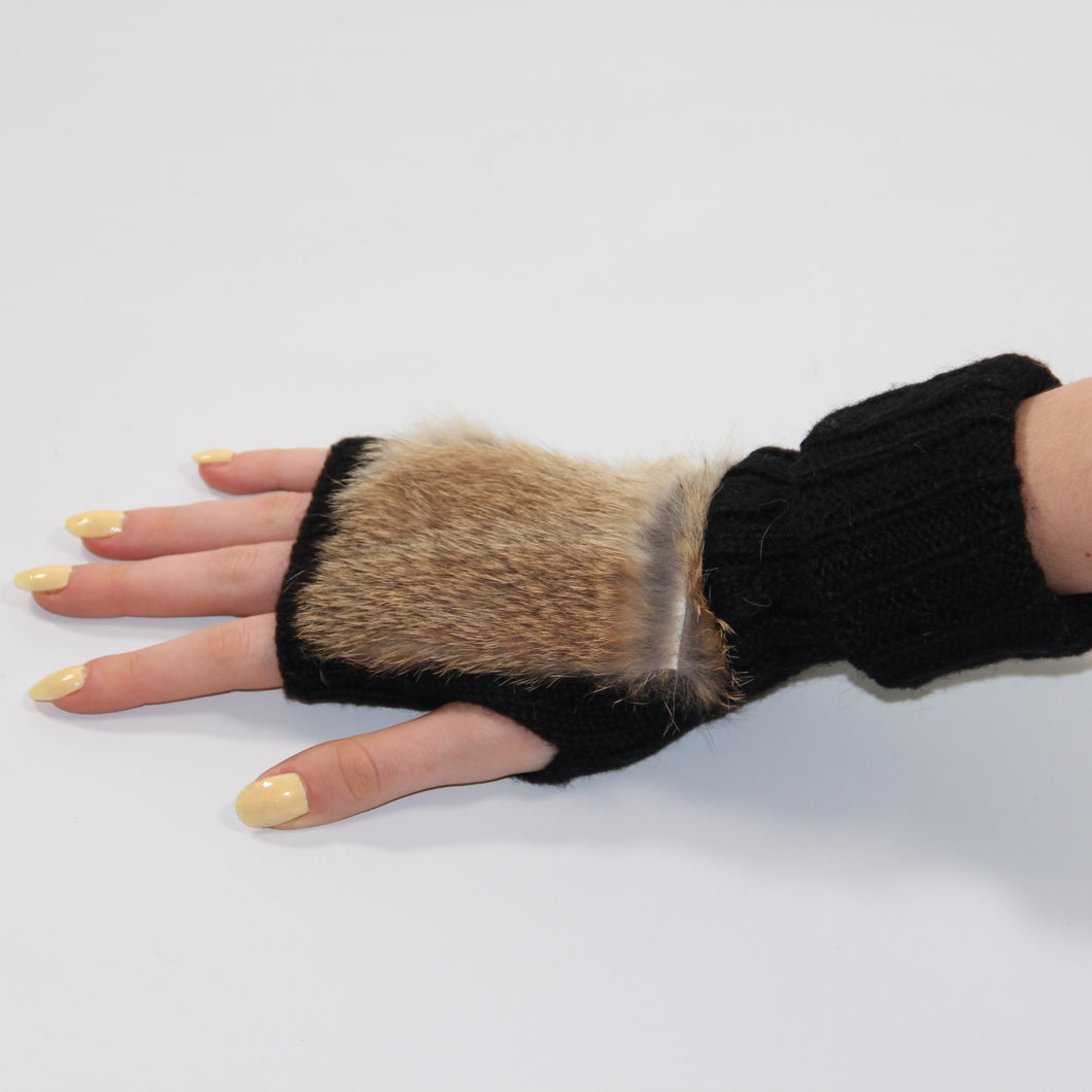 Glove Fingerless - Rabbit Fur and Wool - Black