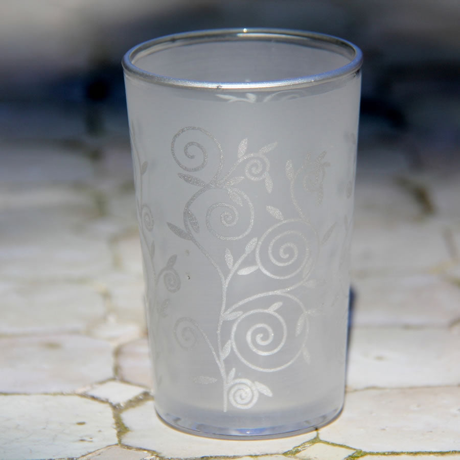 Moroccan Bomboniere Votive Tea Glass - Set of 6 (Frost Silver Swirl)