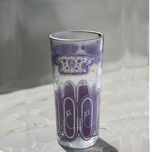 Set 6 - Tall Pale Purple Silver -  Painted Moroccan Glass - Feather Design