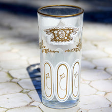 Load image into Gallery viewer, set 6 - Tall White Gold - Tea Glass, Water Glass - Moroccan Painted -  Feather Design