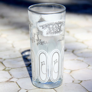 set 6 - Tall White Silver - Tea Glass, Water Glass - Moroccan Painted -  Feather Design