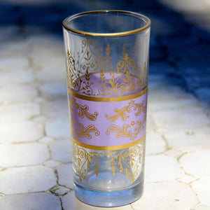 Set 6 - Tall Glass - Pale Purple Gold - Made in Morocco - Tunise Clear- Tea Glass