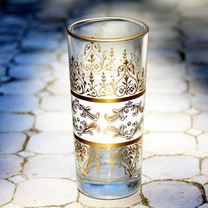 Set 6 - Tall White Gold - Turkish Style - Tea Glass - Tunise Clear