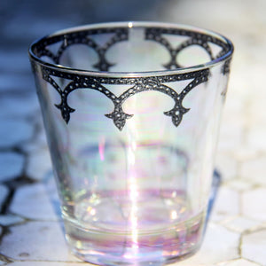 Medieval Votive Tumbler Glass - Set of 6 (Clear Lustre with Pewter Border)