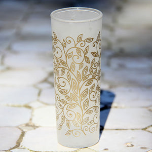 Set 6 - Shot Glass - Gold Frost - Flower Pattern
