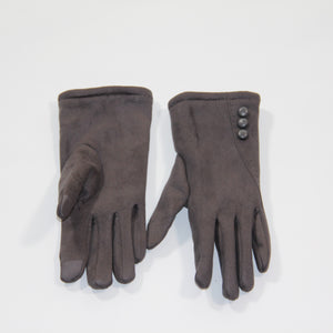 Glove Vegan Suede Grey Silk Route