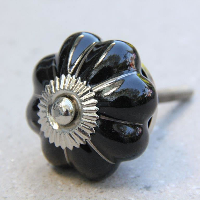 Flower Shape - Black with Silver -  Ceramic Knob