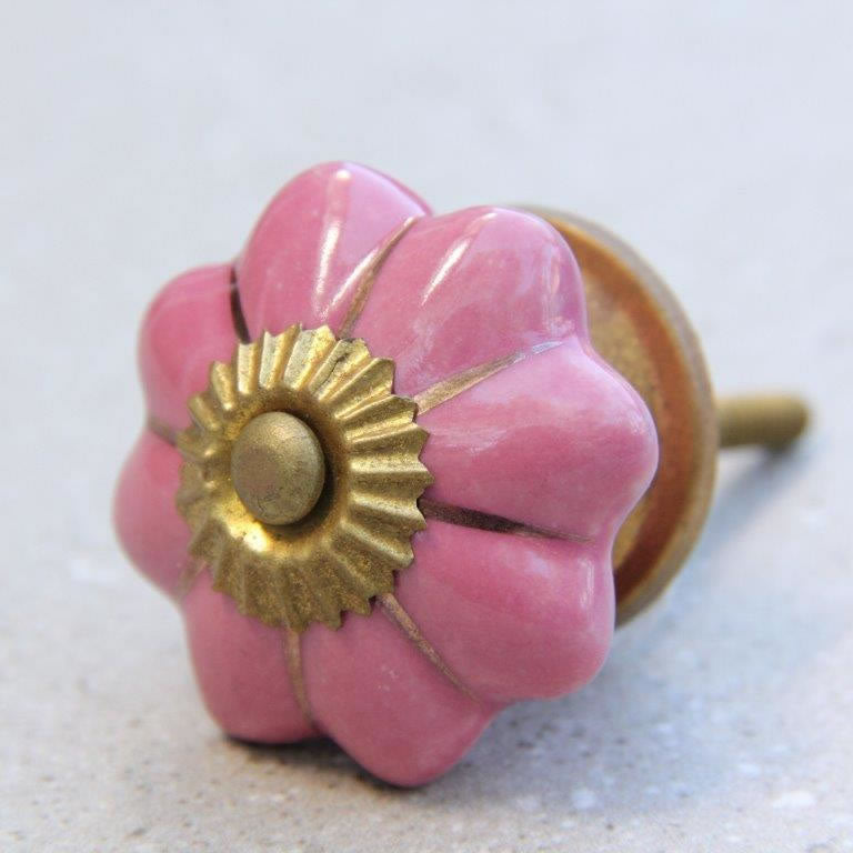 Flower Shape - Pale Pink with Gold -  Ceramic Knob