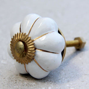 Flower Shape - White with Gold -  Ceramic Knob