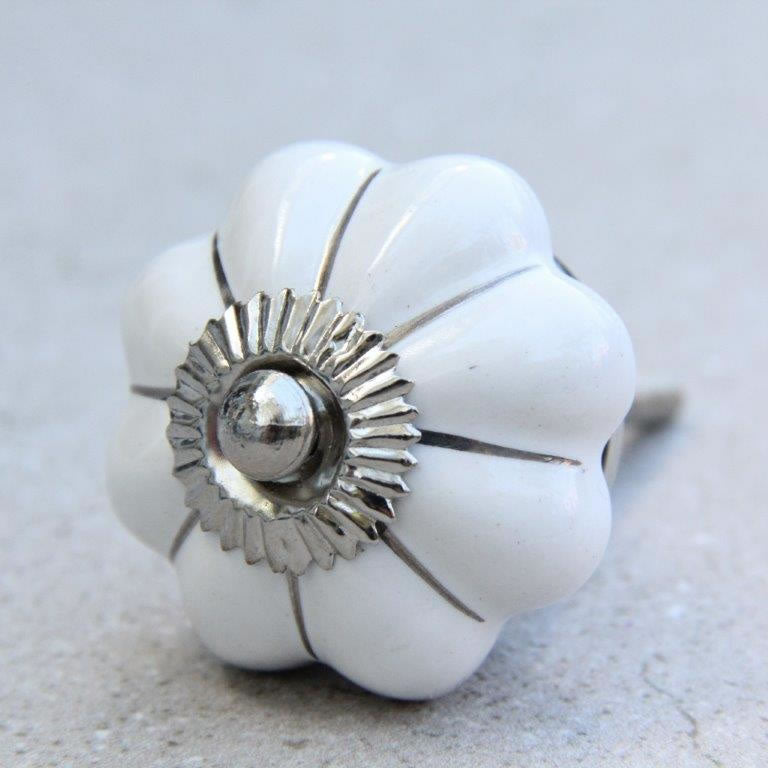 Flower Shape - White with Silver -  Ceramic Knob