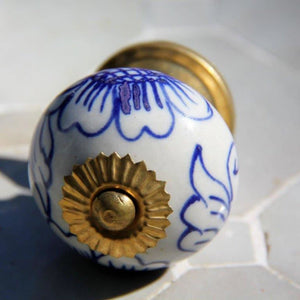 Country Ceramic - Blue and White Floral - Door Knob